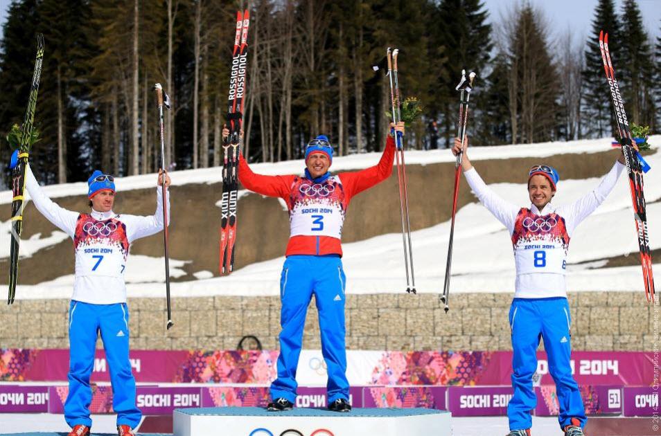 31золото Александр ЛЕГКОВ  Лыжные гонки Масс-старт свободным стилем 50км, мужчины